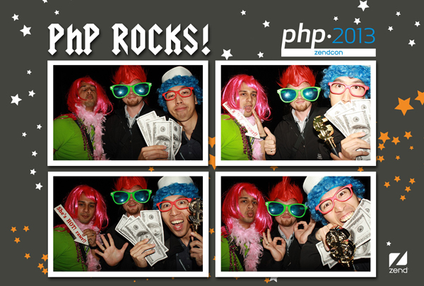 enjoying the photo booth at the conference in Santa clara