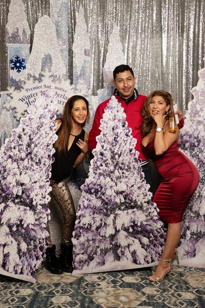 Hilton custom backdrop San Jose photo booth rental for your Holiday Party